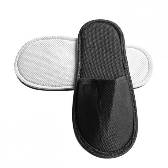Затворени чехли от нетъкан текстил, Черен - 5, 10 или 30 чифта
