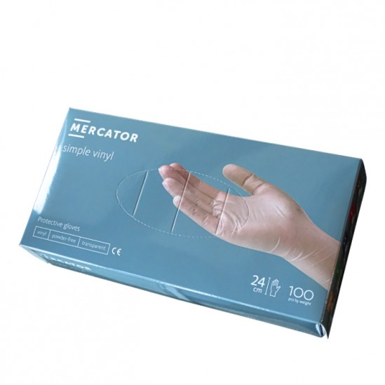 Еднократни прозрачни ръкавици от винил Mercator, размер S, 100 бр.