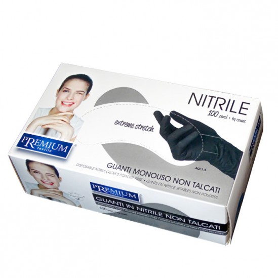 Нитрилни ръкавици в черен цвят Premium - 100 броя, S размер