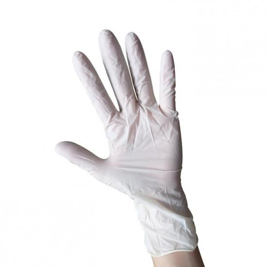 Еднократни бели ръкавици от латекс с пудра - 100бр.