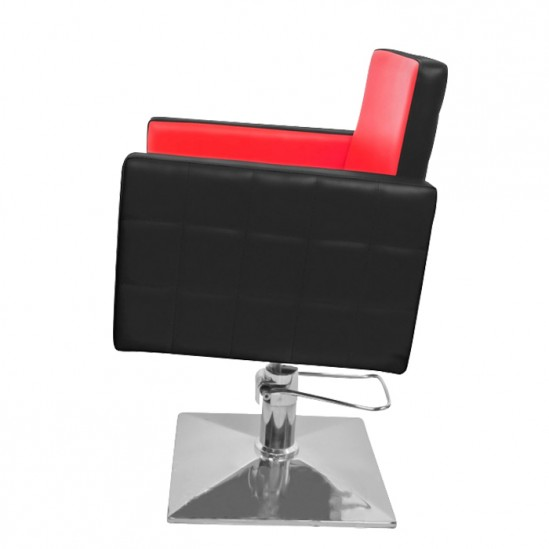 Фризьорски стол, PA08F0BR - черно-червен