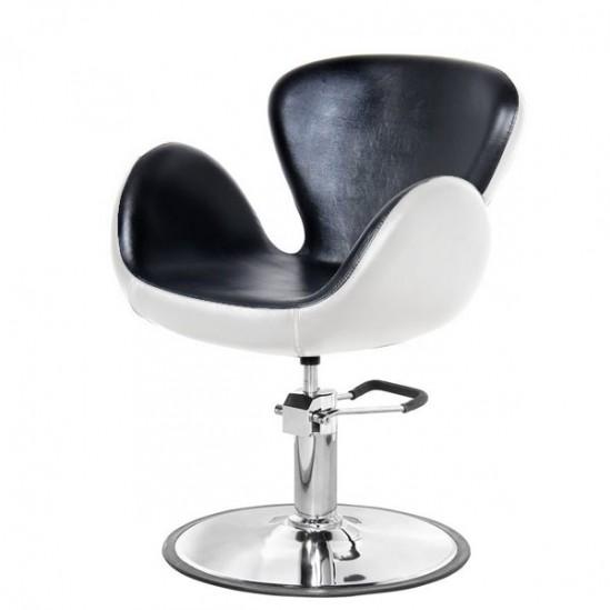 Фризьорски стол, PA3390BL - черно-бял