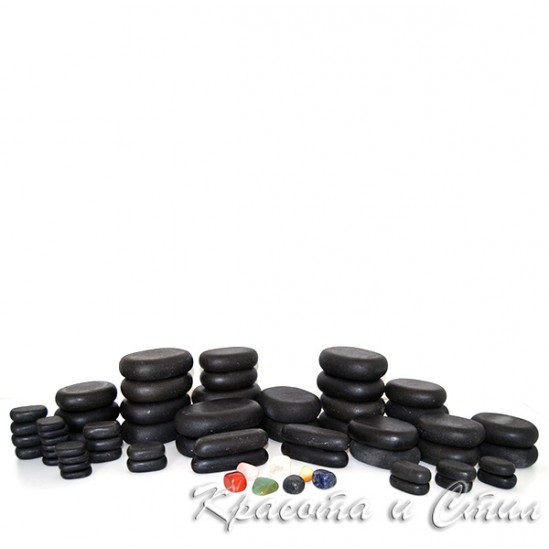 Вулканични камъни за масаж - комплект 64бр