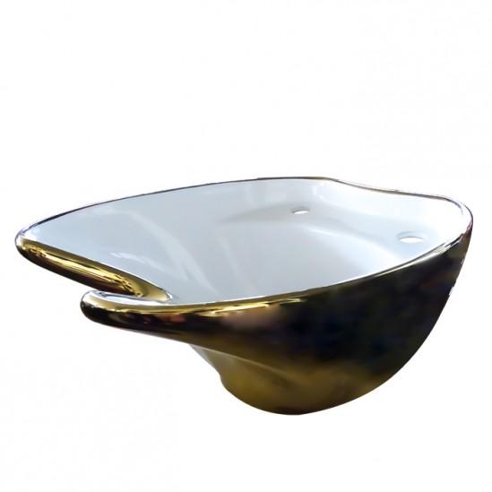 Мивка за измивна колона златно с бяло - DM5