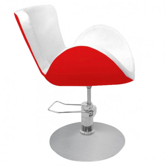 Стилен фризьорски стол – червено-бял PA03F0RW