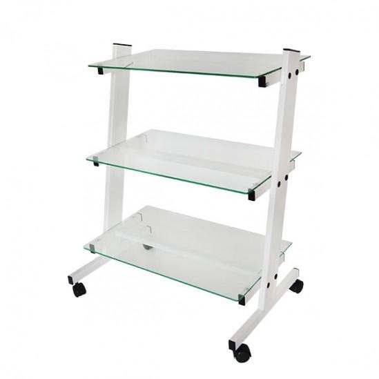 Наклонена козметична количка със стъклени рафтове КК002