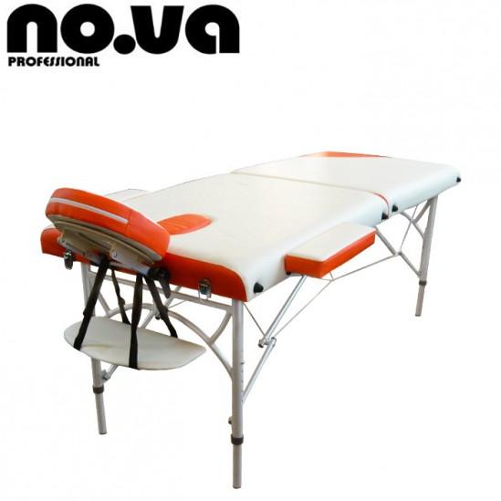 Алуминиева масажна кушетка, NO.VA Aero Delux, NV21 - бяло и оранжево
