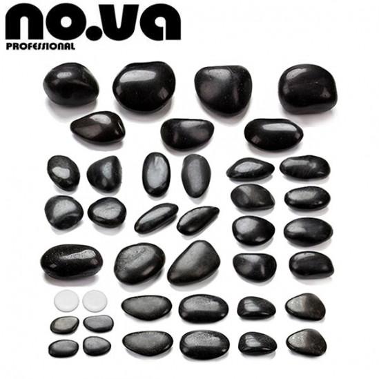 Комплект 40бр Вулканични камъка за масаж - базалт
