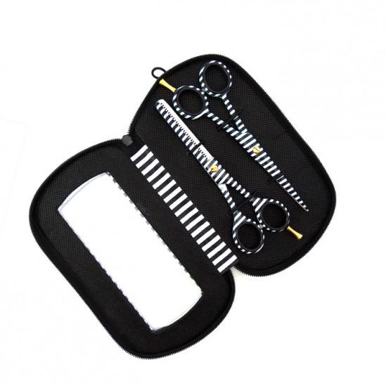 Комплект фризьорски ножици Черно и Бяло